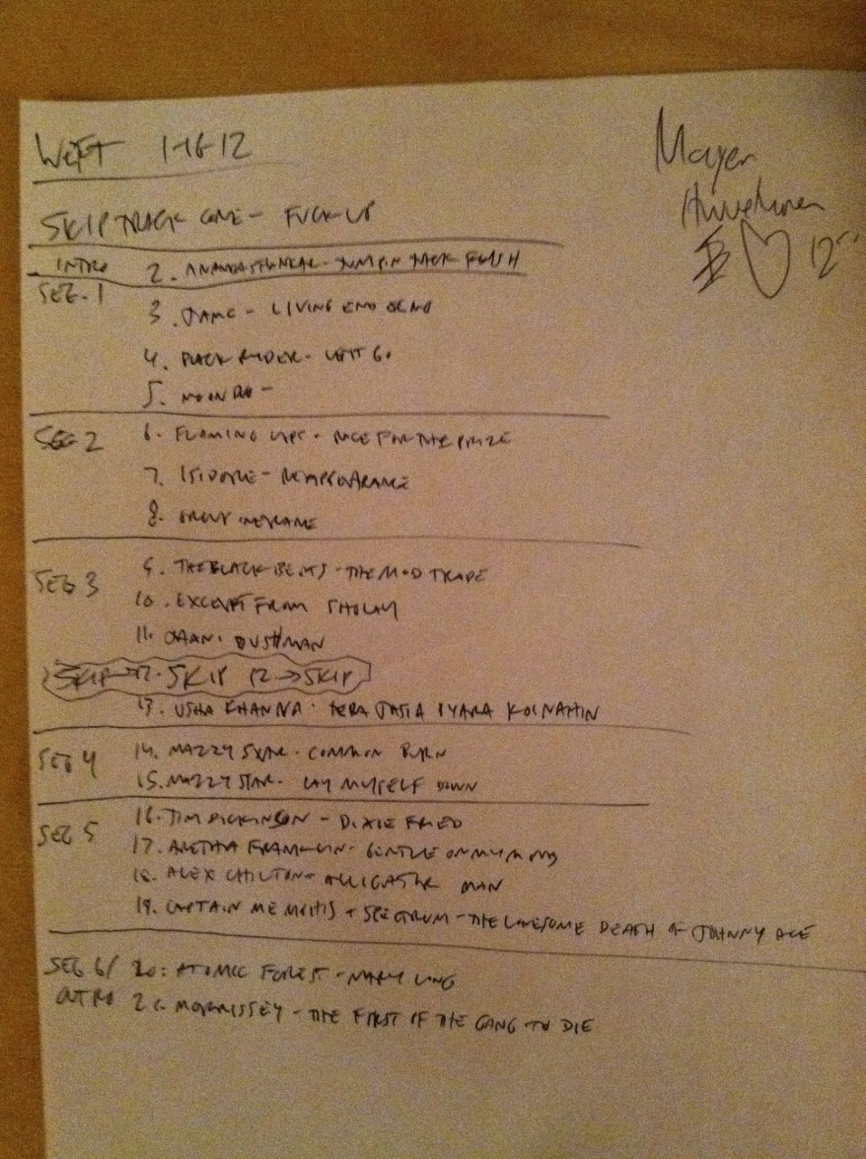 Collector's item: one of Honcho's setlists from Rock Geek FM